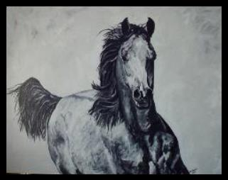 Western Art-PM Packet original acylic painting- Arabian horse insert for queen bed headboard