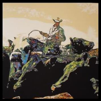 """Colorful Cowboy"" original western painting by PM Packet- cowboy painting"