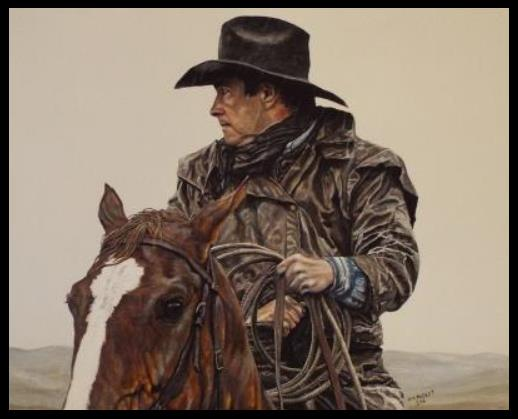 """Ropin' in the Rain"" - original western acrylic painting by PM Packet"
